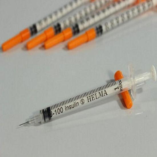 تصویر از سرنگ انسولین یکپارچه بسته بندی ده تایی حلما طب